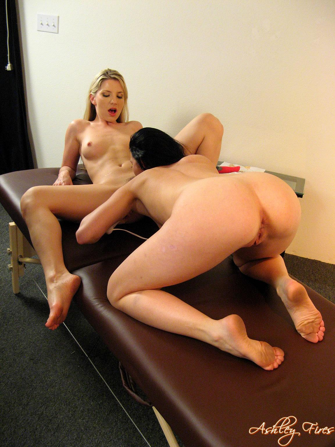 Pictures of Ashley Fires getting some hot lesbian sex.