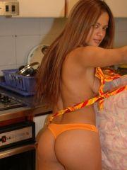 Pictures of Bella Spice in the kitchen wearing panties