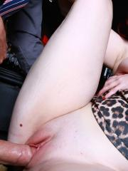 Busty redhead Jaye Rose gets her wet pussy fucked hard in a bar