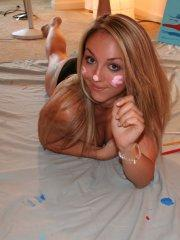 Pictures of teen girl Brooke Marks getting kinky with the paint