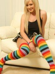 Pictures of Jessica Cutie fucking herself in long striped socks