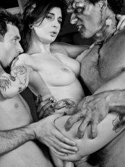 Pictures of Joanna Angel getting double fucked in black and white
