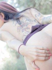 Pictures of teen Joanna Angel exposing herself outside