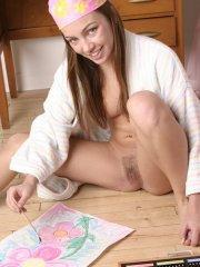 Pictures of teen Mandy's Diary painting her tight teen body