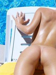 Pictures of Veronika F totally naked by the pool