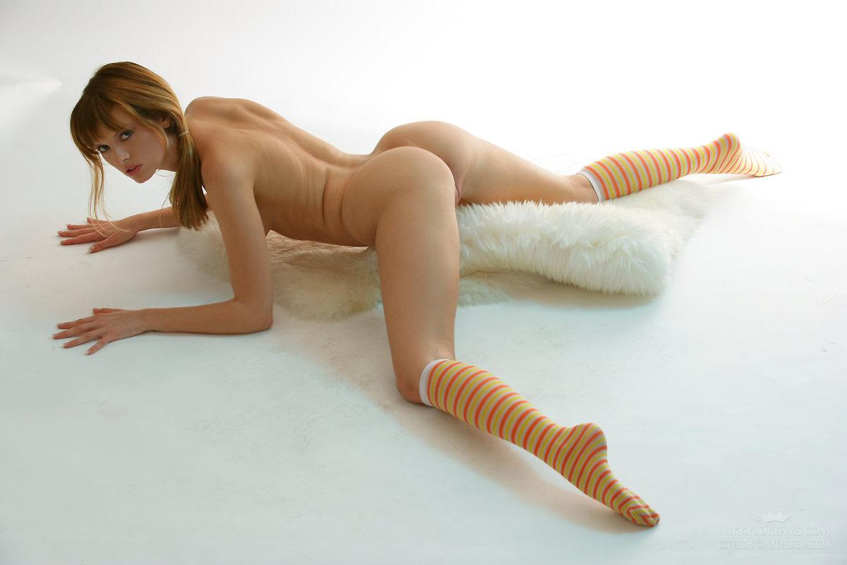 Similar nude girl with striped socks consider, that
