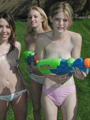 Pictures of teens soaking each other outside