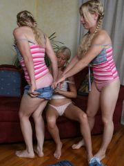 Three lesbian blonds in pigtails