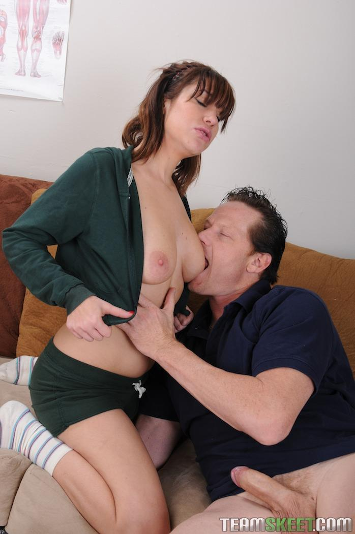 Busty hottie nails her holes with a dildo 4